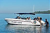 Kleines Speedboot des Apo Reef Club