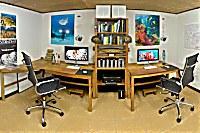 Professionell ausgestatteter Raum für Unterwasser-Fotografen