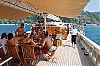 Freiluft-Restaurant unter dem Sonnensegel