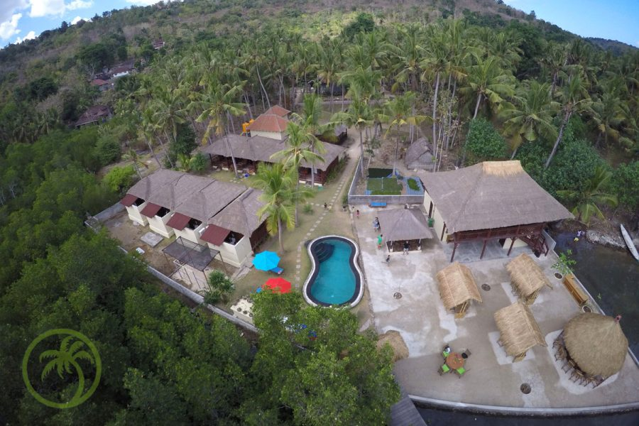 Luftaufnahme des Ceningan Resorts