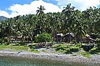 Blick vom Meer auf das Resort