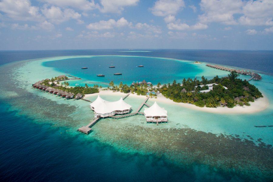 Komplettansicht des Safari Island Resorts aus der Luft